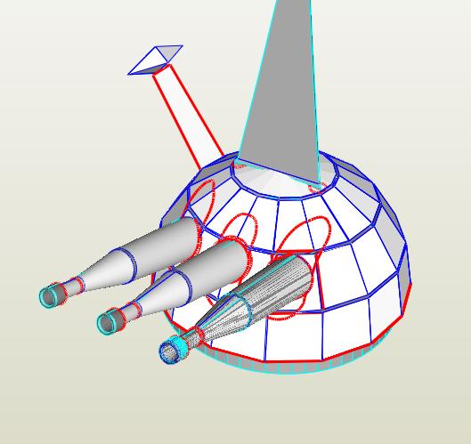 轟天号 型紙の制作(28)砲塔: uhu02 ペーパークラフト